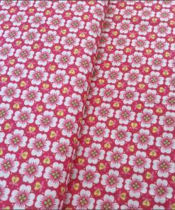 Red Floral Tile Cotton Fabric 150cm - a grat choice for dressmaking, buy from More Sewing