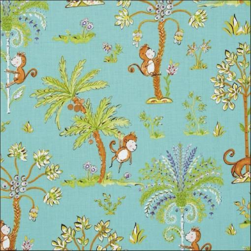 Happy monkeys playing in palm trees on this lovely cotton fabric suitable for dressmaking and craft projects. Buy by the half metre from More Sewing