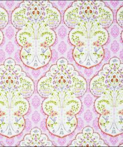 Sundara Pink Floral Retro Cotton Fabric for Dressmaking and Crafting - Buy from More Sewing